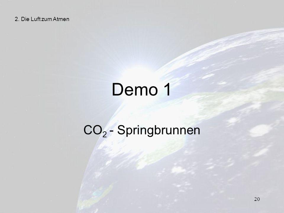2. Die Luft zum Atmen Demo 1 CO2 - Springbrunnen