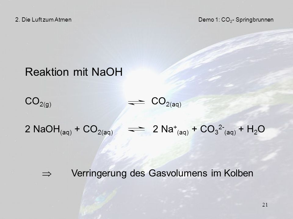 Reaktion mit NaOH CO2(g) CO2(aq)