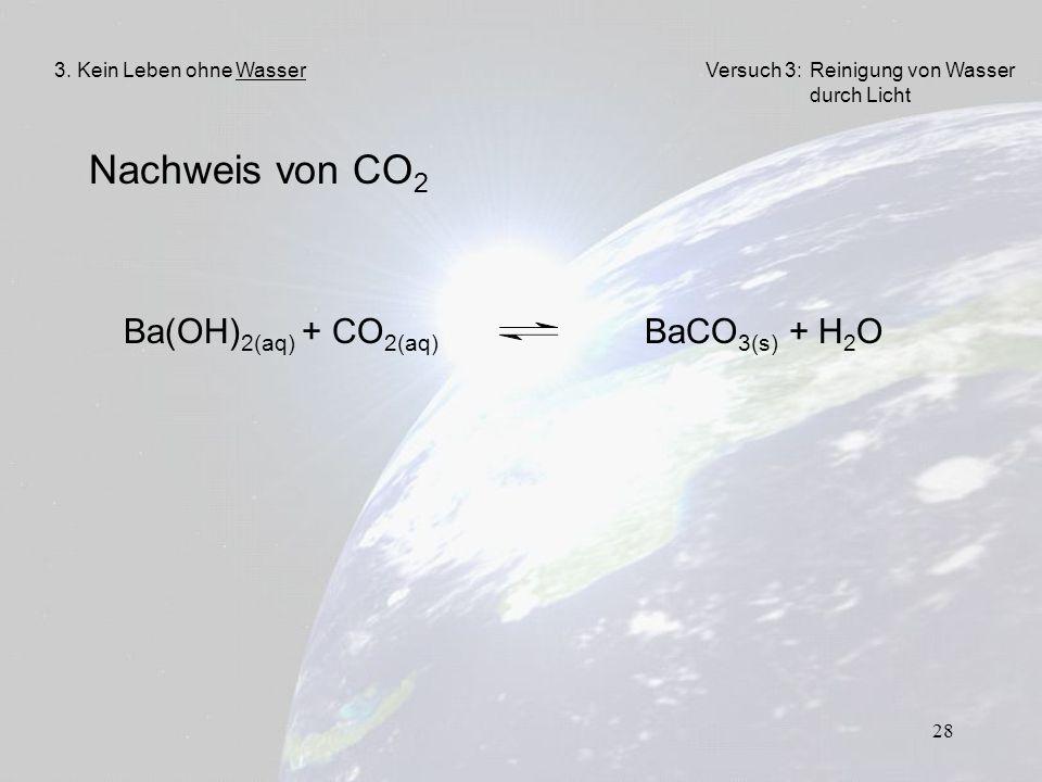 Nachweis von CO2 Ba(OH)2(aq) + CO2(aq) BaCO3(s) + H2O