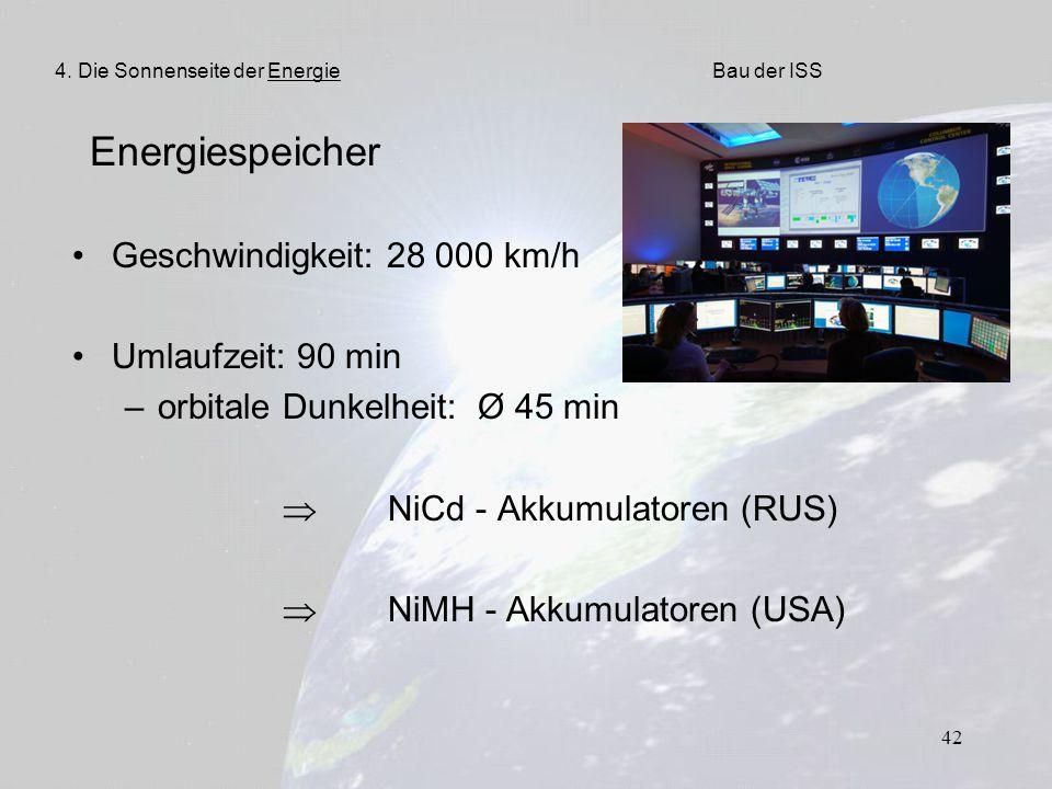 Energiespeicher Geschwindigkeit: 28 000 km/h Umlaufzeit: 90 min