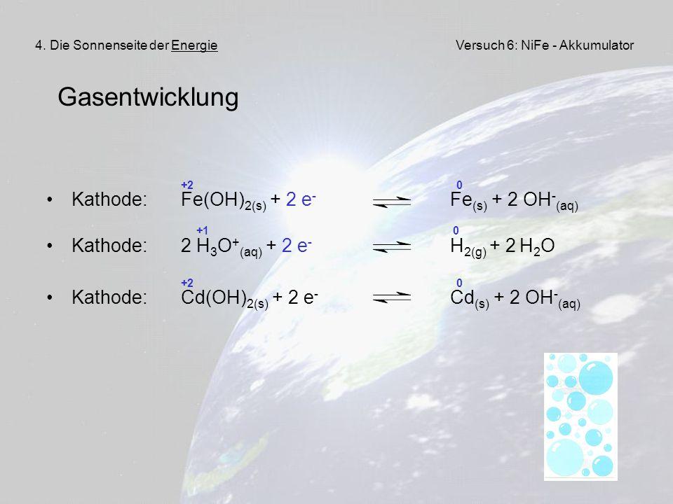 Gasentwicklung Kathode: Fe(OH)2(s) + 2 e- Fe(s) + 2 OH-(aq)