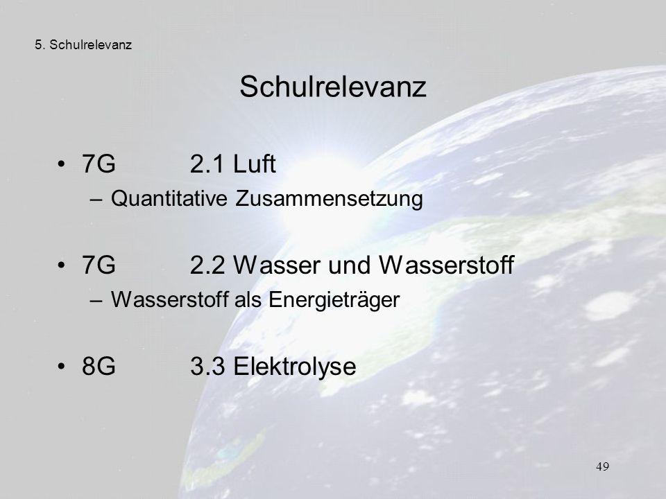 Schulrelevanz 7G 2.1 Luft 7G 2.2 Wasser und Wasserstoff