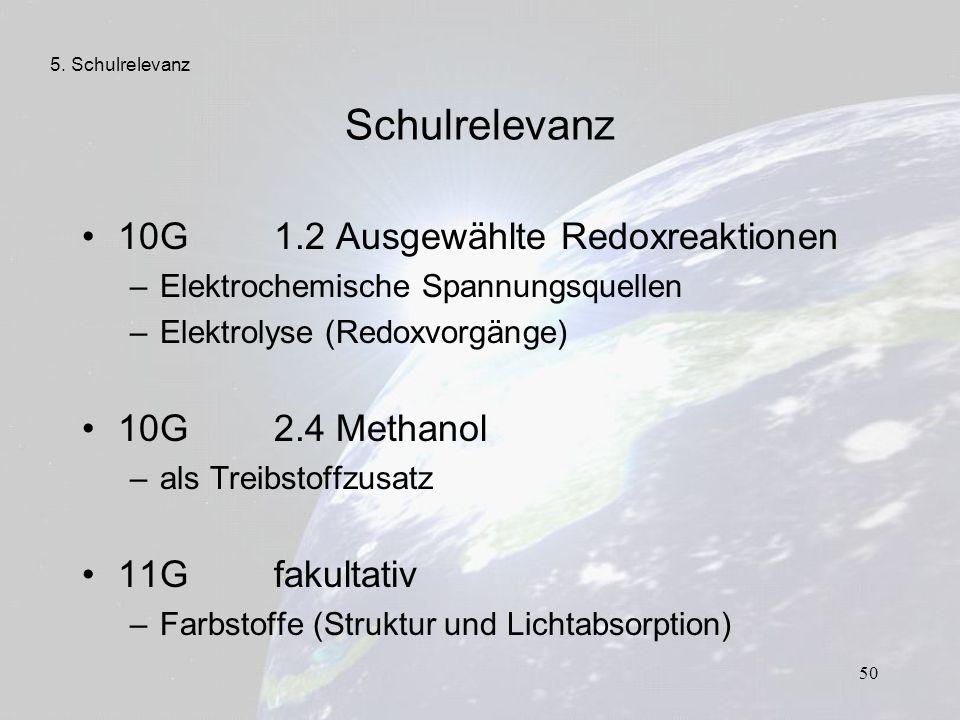 Schulrelevanz 10G 1.2 Ausgewählte Redoxreaktionen 10G 2.4 Methanol