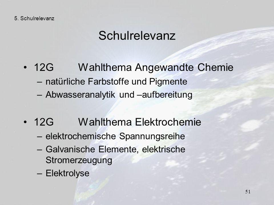 Schulrelevanz 12G Wahlthema Angewandte Chemie