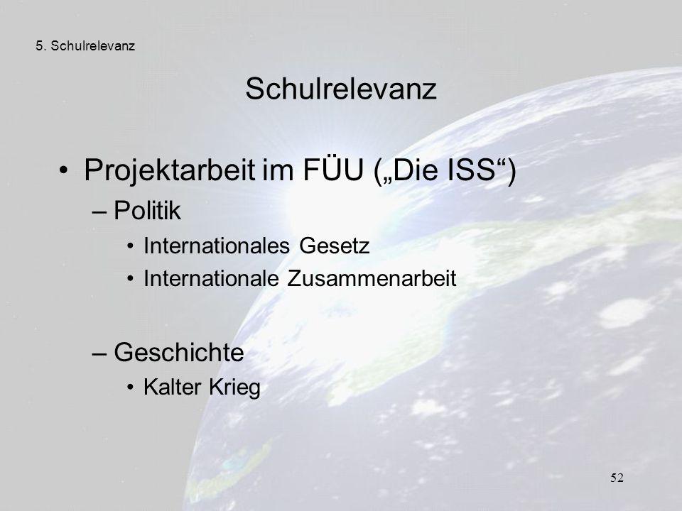 """Projektarbeit im FÜU (""""Die ISS )"""