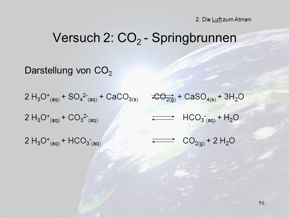 Versuch 2: CO2 - Springbrunnen