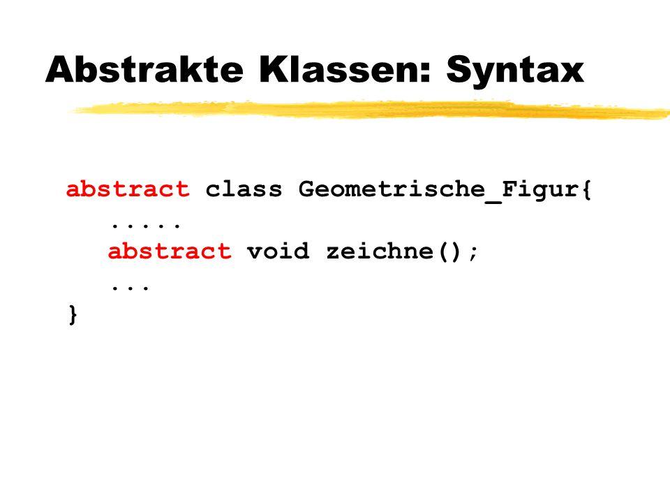 Abstrakte Klassen: Syntax