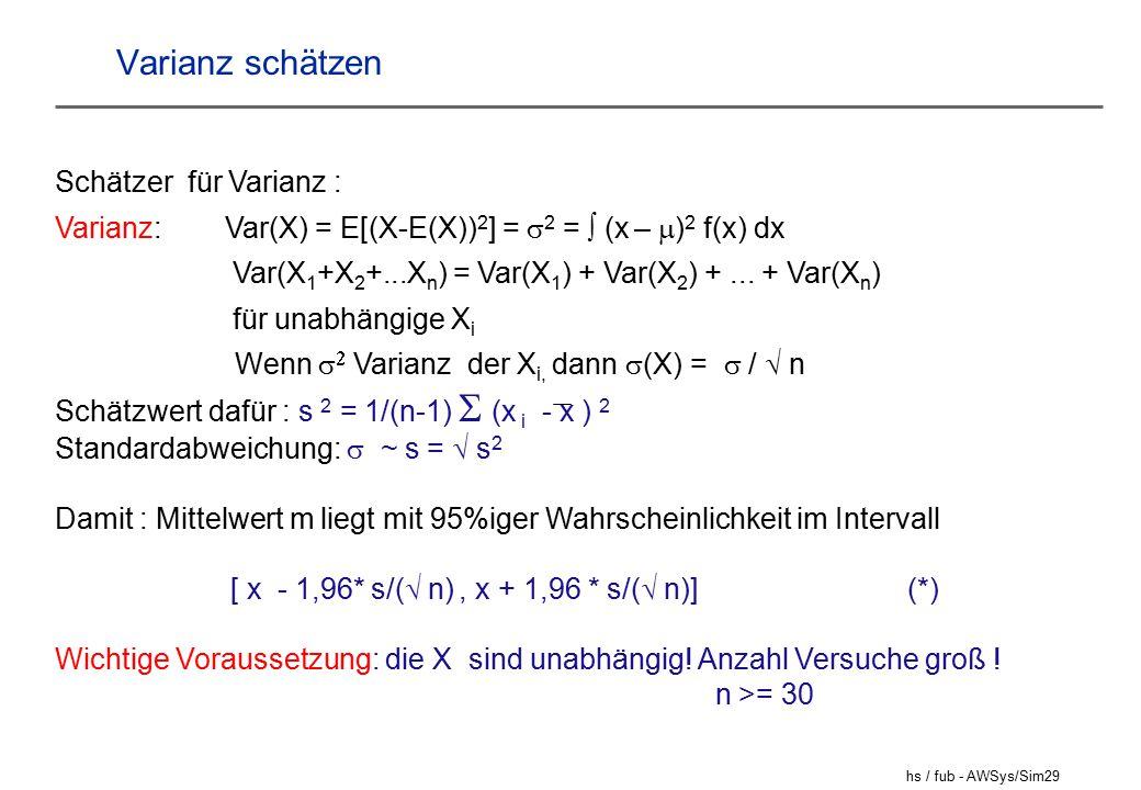 Varianz schätzen Schätzer für Varianz :