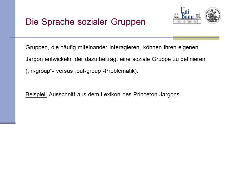 Die Sprache sozialer Gruppen