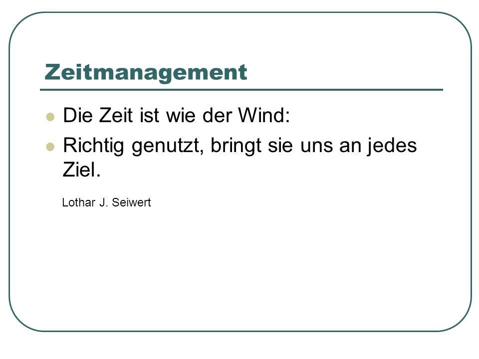 Zeitmanagement Die Zeit ist wie der Wind: