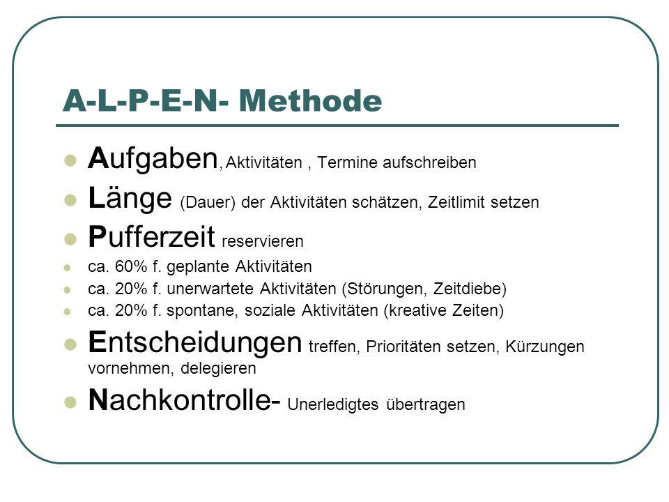 A-L-P-E-N- Methode Aufgaben, Aktivitäten , Termine aufschreiben
