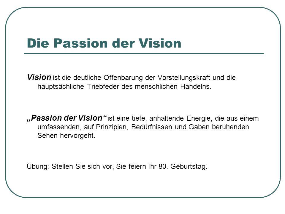 Die Passion der Vision Vision ist die deutliche Offenbarung der Vorstellungskraft und die hauptsächliche Triebfeder des menschlichen Handelns.