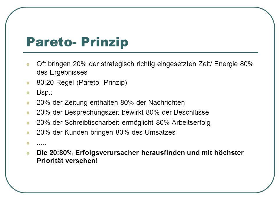 Pareto- Prinzip Oft bringen 20% der strategisch richtig eingesetzten Zeit/ Energie 80% des Ergebnisses.