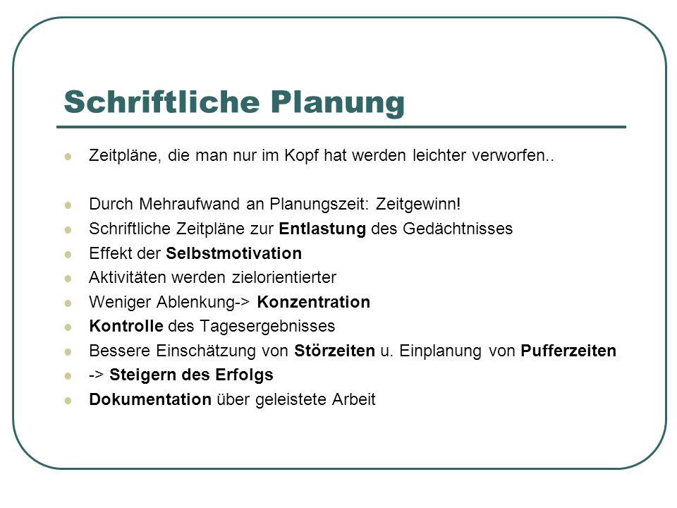 Schriftliche Planung Zeitpläne, die man nur im Kopf hat werden leichter verworfen.. Durch Mehraufwand an Planungszeit: Zeitgewinn!