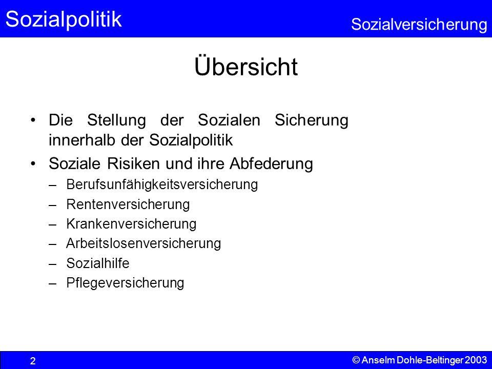 Übersicht Die Stellung der Sozialen Sicherung innerhalb der Sozialpolitik. Soziale Risiken und ihre Abfederung.