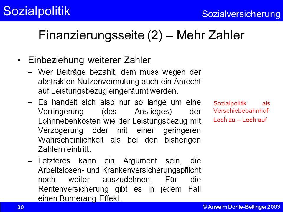 Finanzierungsseite (2) – Mehr Zahler