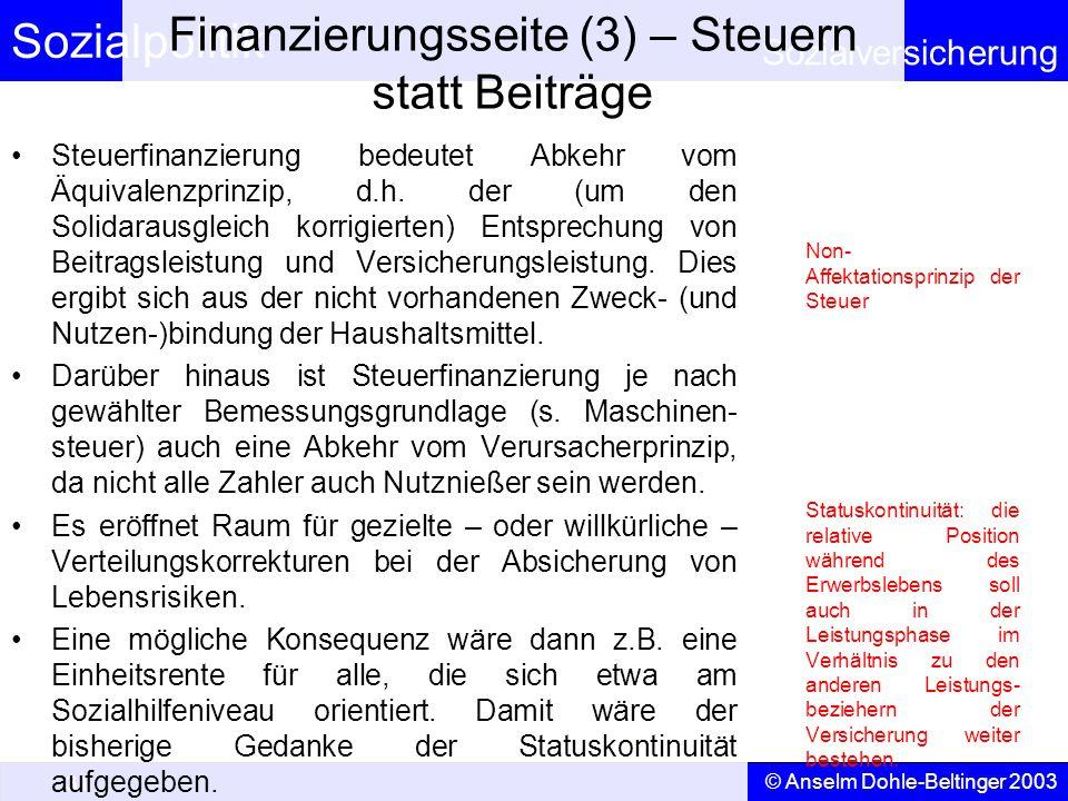 Finanzierungsseite (3) – Steuern statt Beiträge
