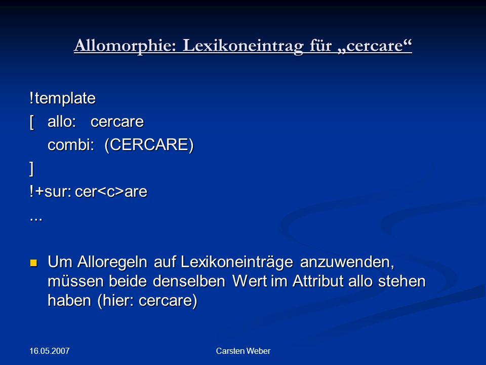 "Allomorphie: Lexikoneintrag für ""cercare"