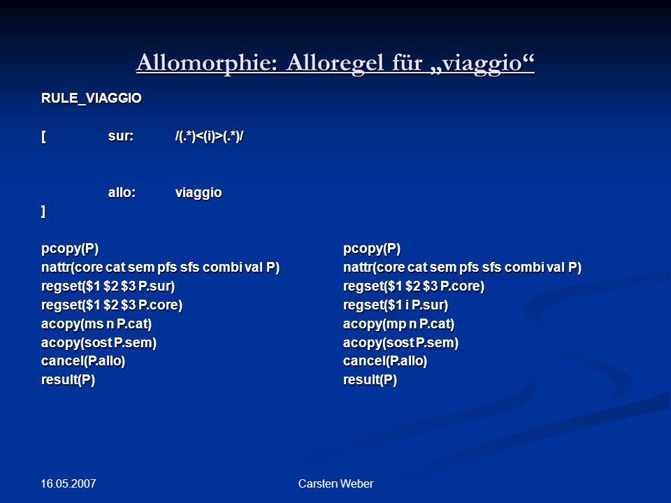 """Allomorphie: Alloregel für """"viaggio"""