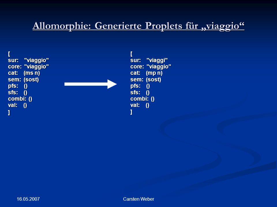 """Allomorphie: Generierte Proplets für """"viaggio"""
