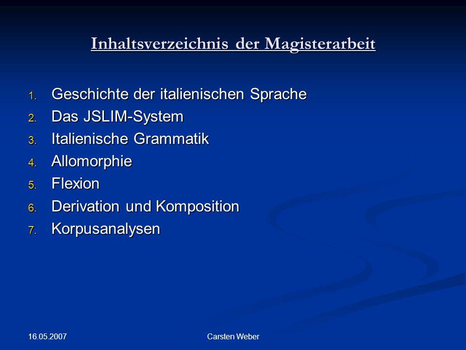 Inhaltsverzeichnis der Magisterarbeit