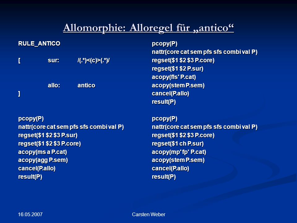 "Allomorphie: Alloregel für ""antico"