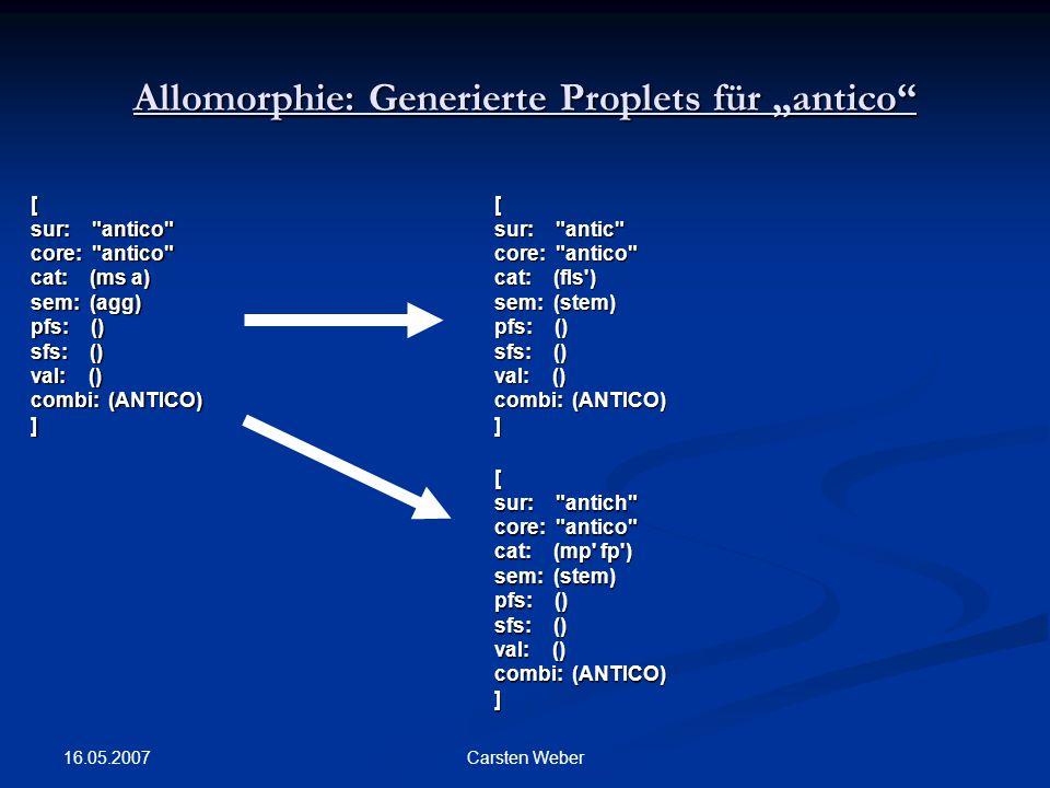 """Allomorphie: Generierte Proplets für """"antico"""