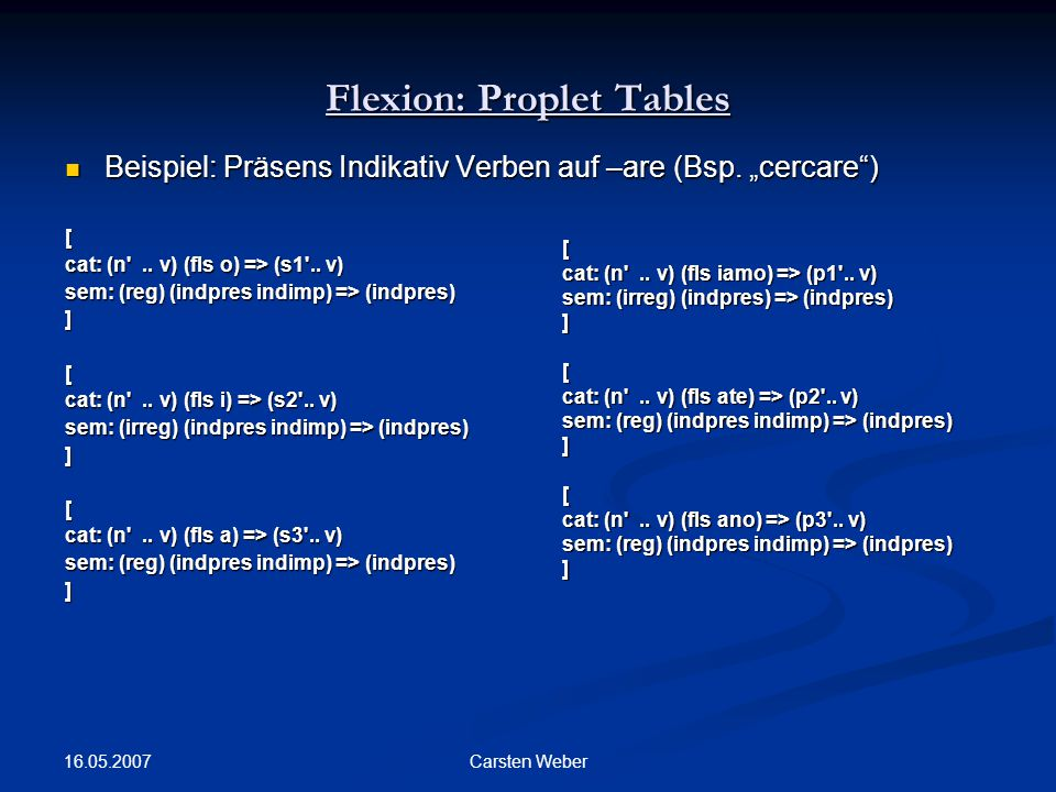 Flexion: Proplet Tables