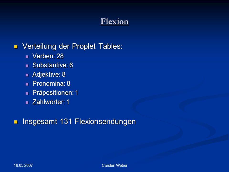 Flexion Verteilung der Proplet Tables: Insgesamt 131 Flexionsendungen
