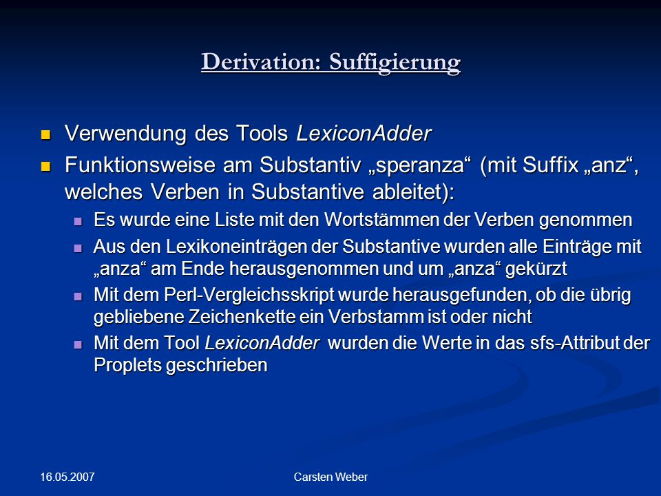 Derivation: Suffigierung
