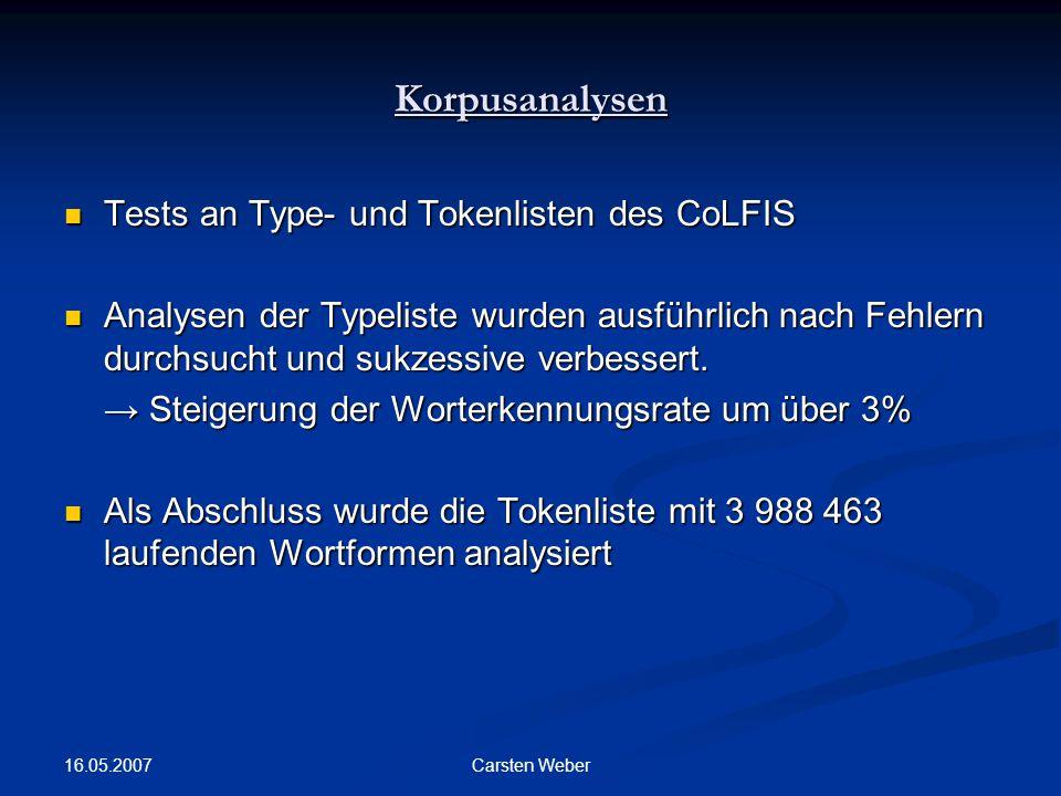 Korpusanalysen Tests an Type- und Tokenlisten des CoLFIS