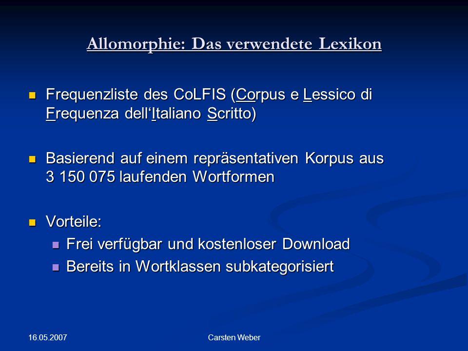 Allomorphie: Das verwendete Lexikon