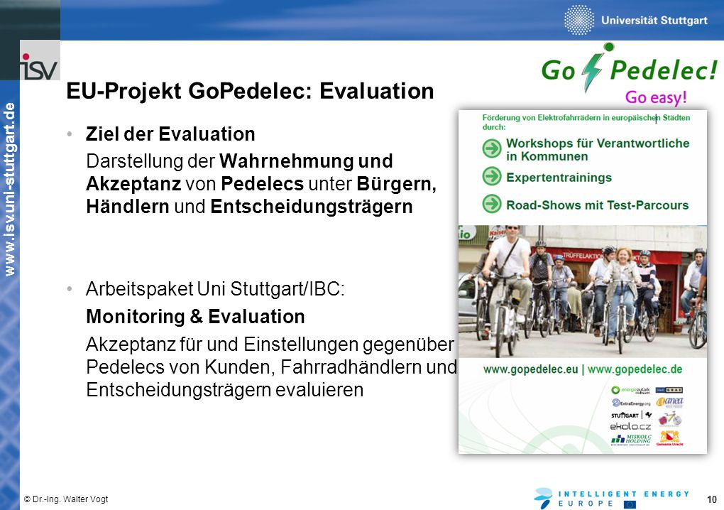 EU-Projekt GoPedelec: Evaluation