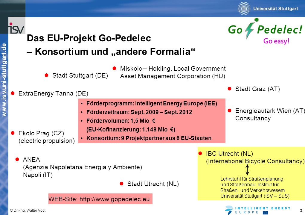 "Das EU-Projekt Go-Pedelec – Konsortium und ""andere Formalia"