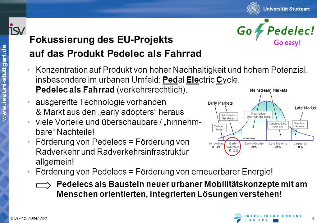 Fokussierung des EU-Projekts auf das Produkt Pedelec als Fahrrad