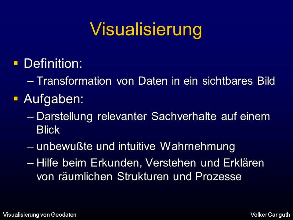 Visualisierung Definition: Aufgaben: