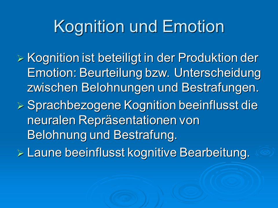 Kognition und Emotion Kognition ist beteiligt in der Produktion der Emotion: Beurteilung bzw. Unterscheidung zwischen Belohnungen und Bestrafungen.