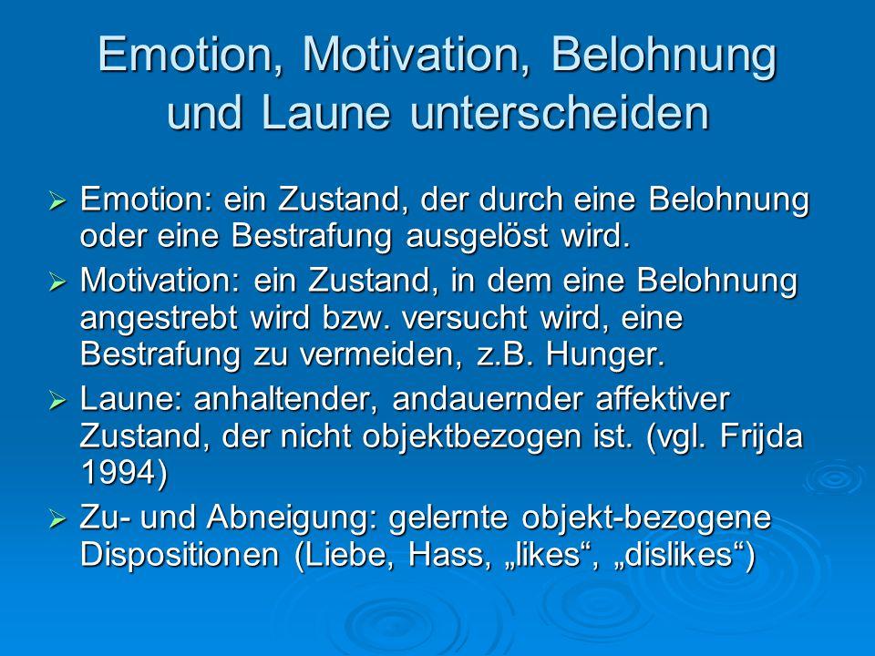 Emotion, Motivation, Belohnung und Laune unterscheiden