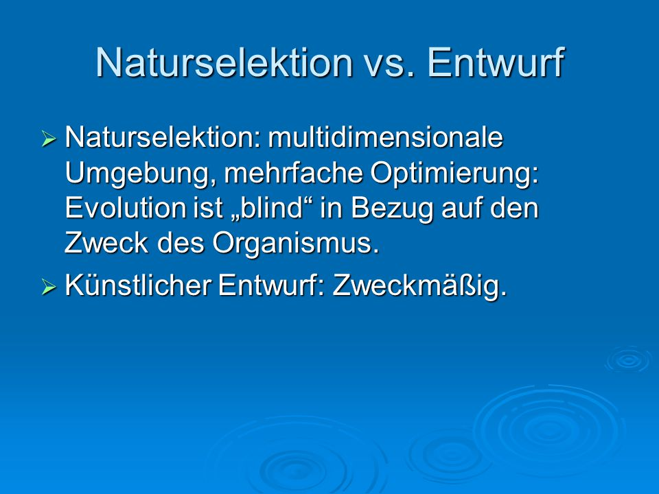 Naturselektion vs. Entwurf