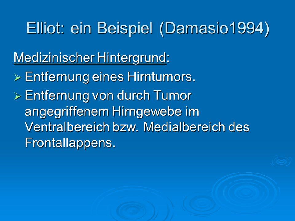 Elliot: ein Beispiel (Damasio1994)