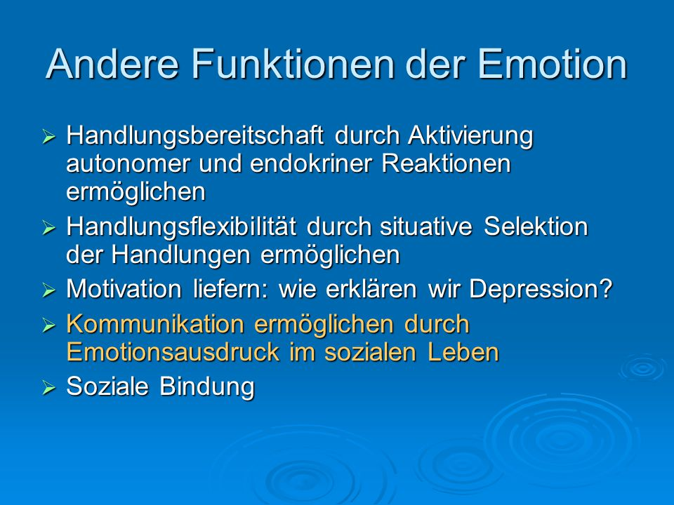Andere Funktionen der Emotion