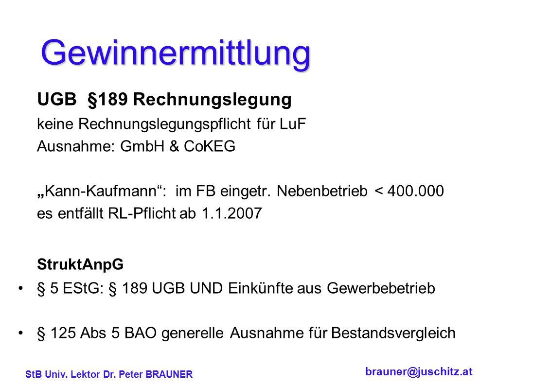 Gewinnermittlung UGB §189 Rechnungslegung StruktAnpG