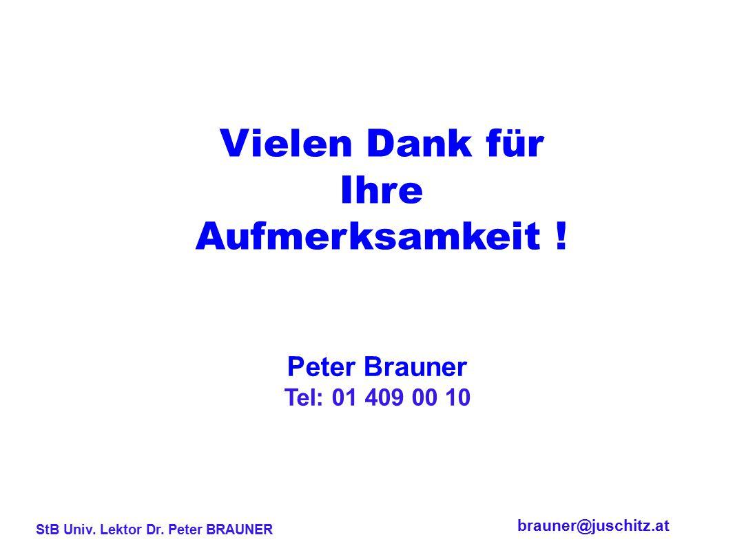 Vielen Dank für Ihre Aufmerksamkeit ! Peter Brauner Tel: 01 409 00 10