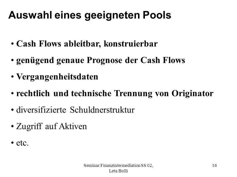 Auswahl eines geeigneten Pools