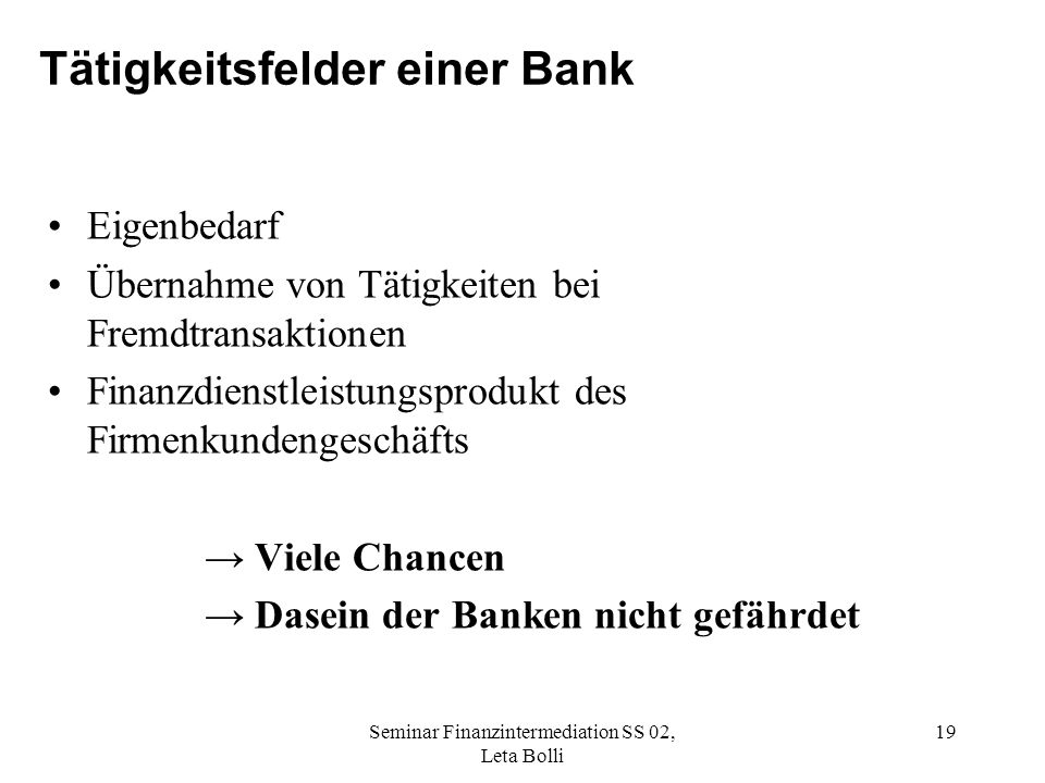 Tätigkeitsfelder einer Bank