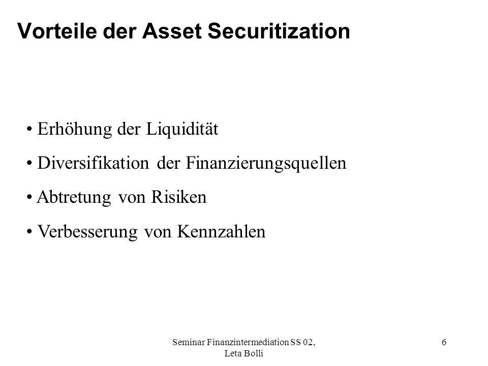 Vorteile der Asset Securitization