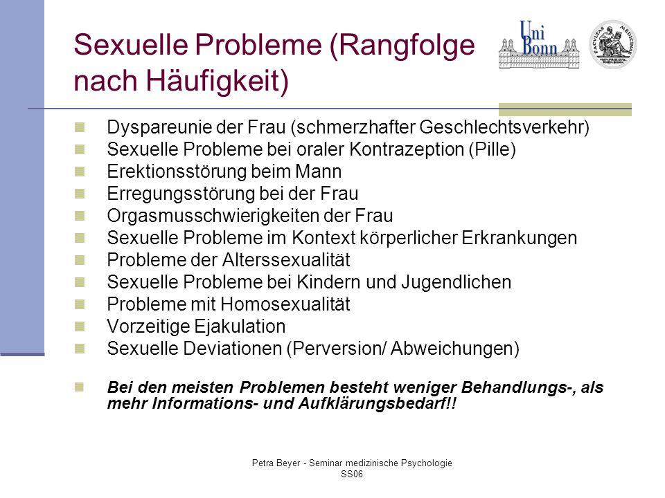 Sexuelle Probleme (Rangfolge nach Häufigkeit)