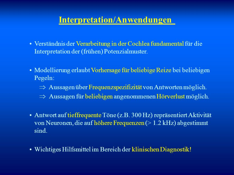 Interpretation/Anwendungen