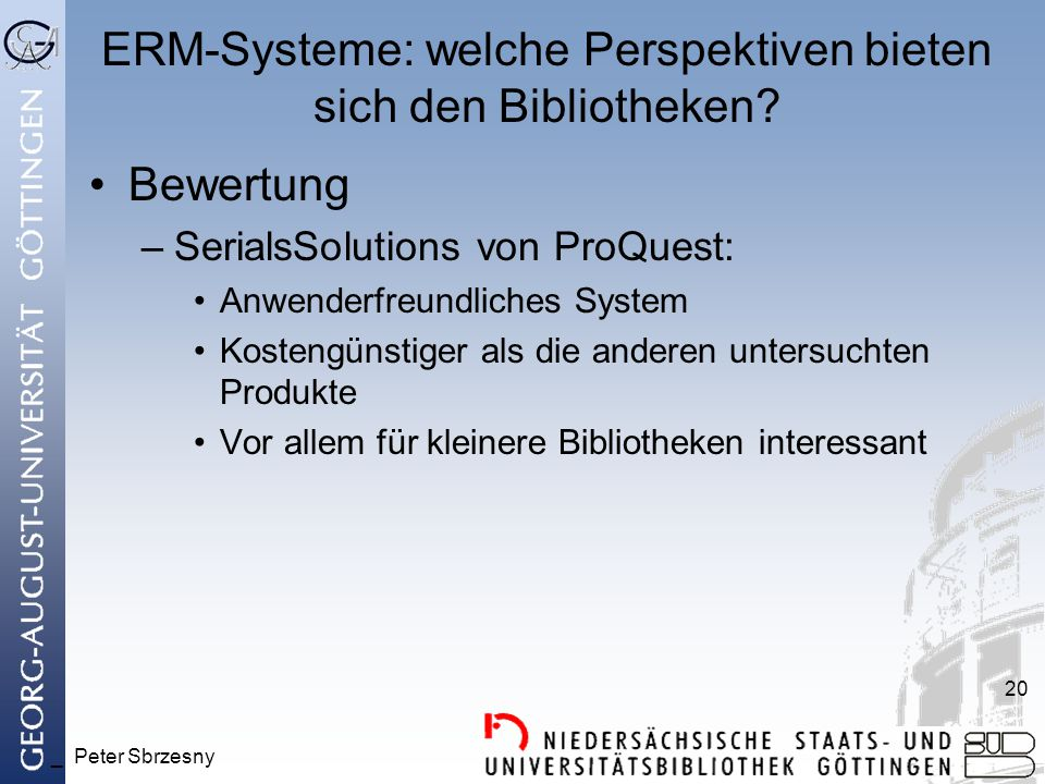 ERM-Systeme: welche Perspektiven bieten sich den Bibliotheken