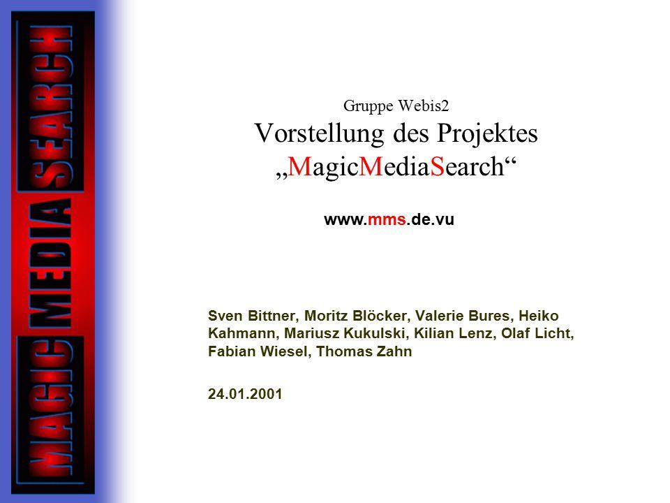 """Gruppe Webis2 Vorstellung des Projektes """"MagicMediaSearch"""